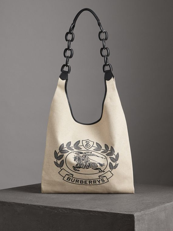 Medium Archive Logo Canvas and Leather Shopper in Black
