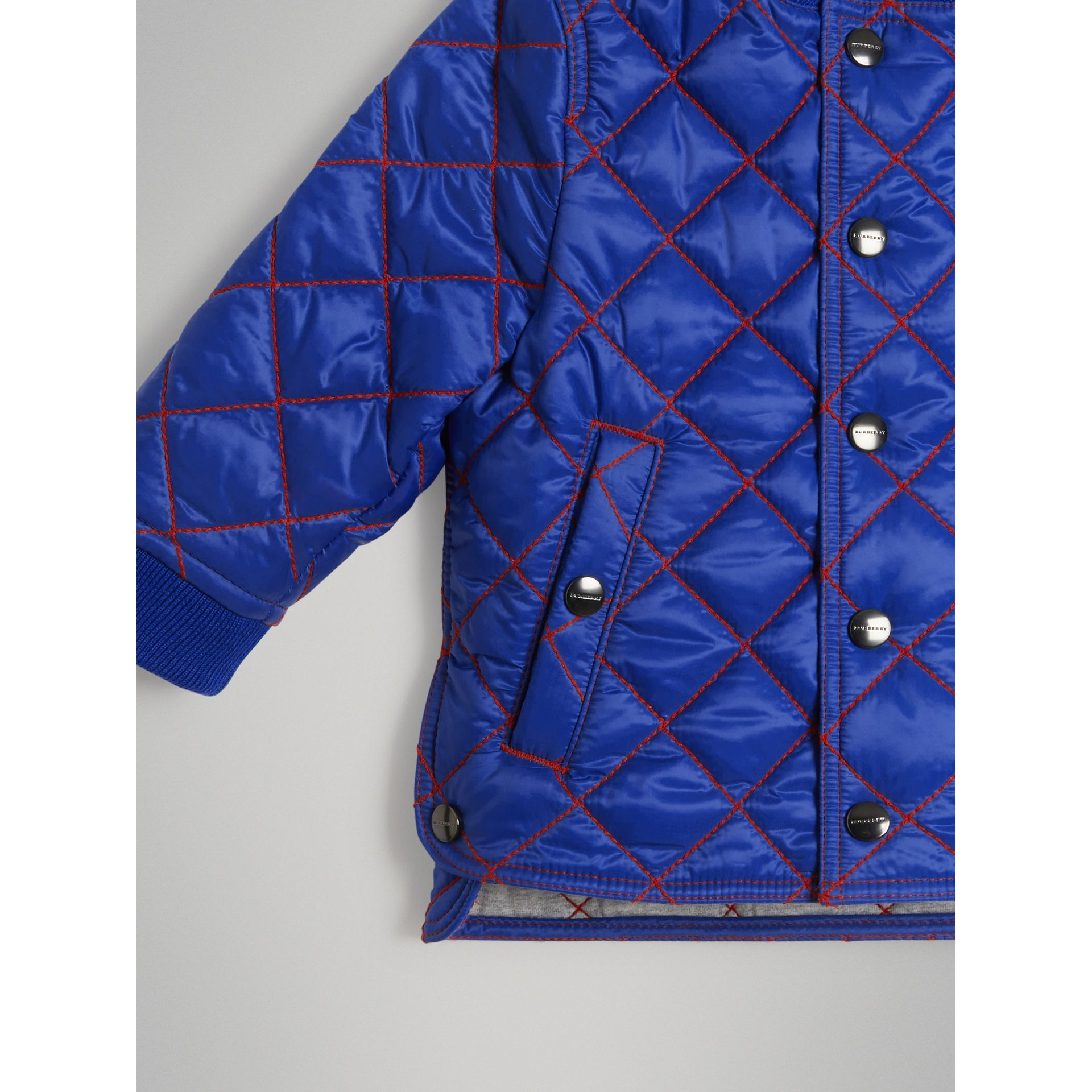 Topstitched Quilted Jacket in Brilliant Blue - Children | Burberry United Kingdom - gallery image 4