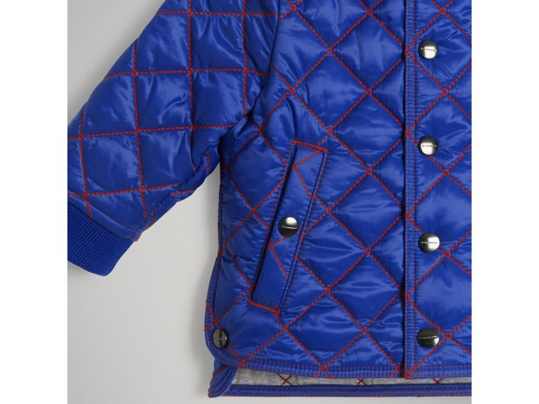 Topstitched Quilted Jacket in Brilliant Blue | Burberry - cell image 4