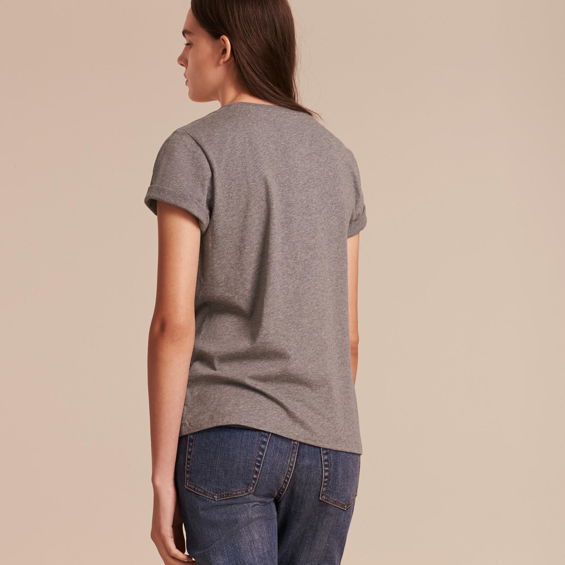 Appliquéd Weather Motif Cotton T-shirt Mid Grey Melange - gallery image 3
