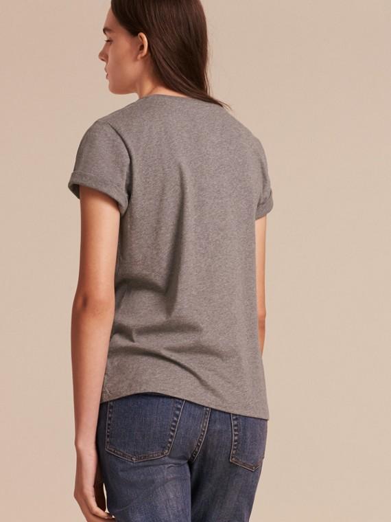 Appliquéd Weather Motif Cotton T-shirt Mid Grey Melange - cell image 2