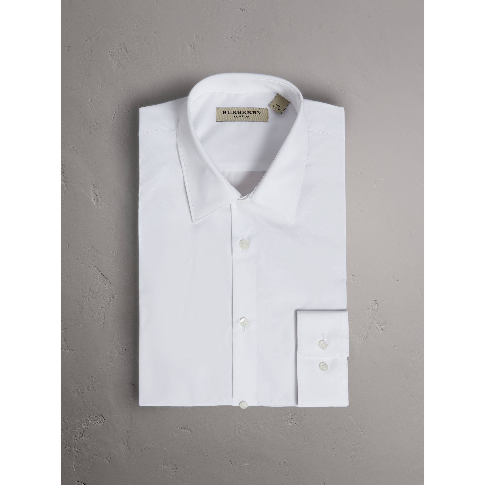 Slim Fit Cotton Poplin Shirt in White - Men | Burberry - gallery image 4
