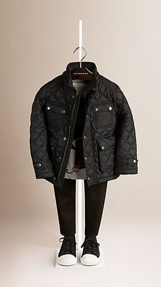 Check-lined Quilted Field Jacket