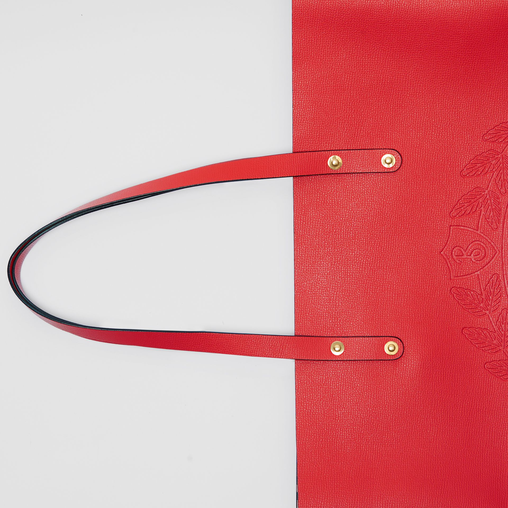 Embossed Crest Leather Tote in Rust Red - Women | Burberry - gallery image 1