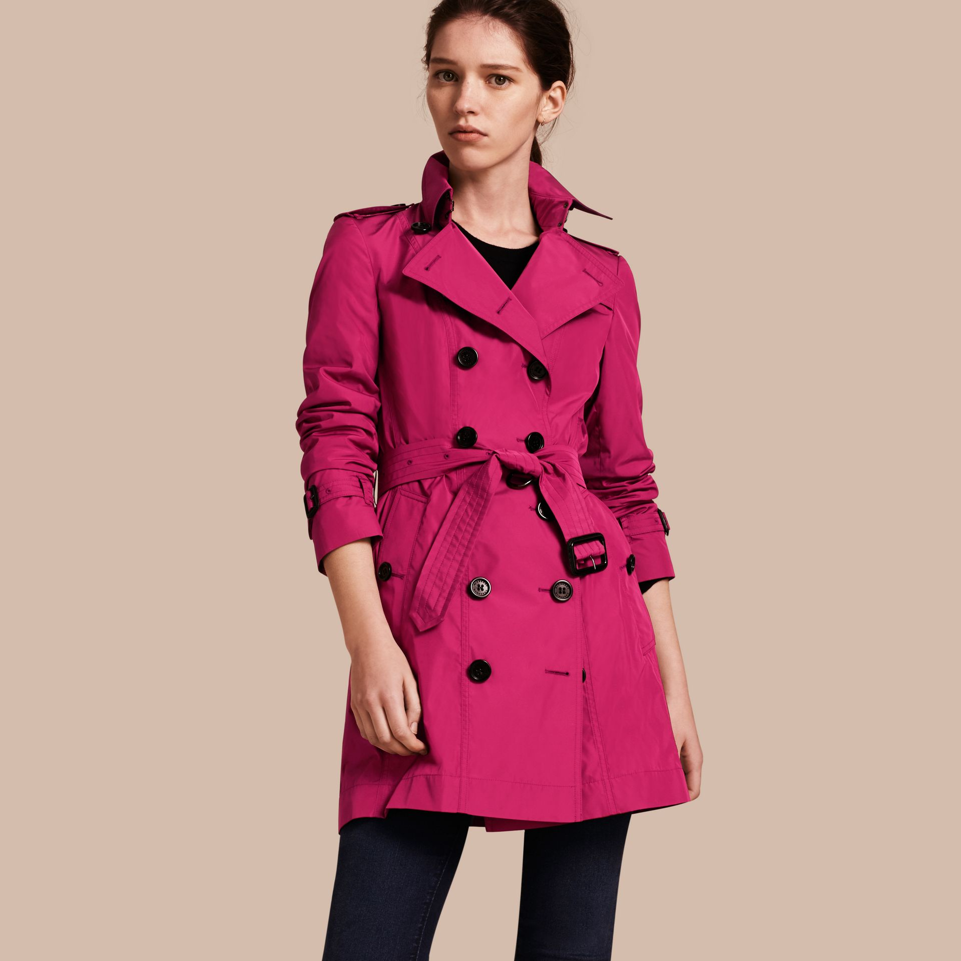 Mid-length Technical Trench Coat Damson Magenta - gallery image 1