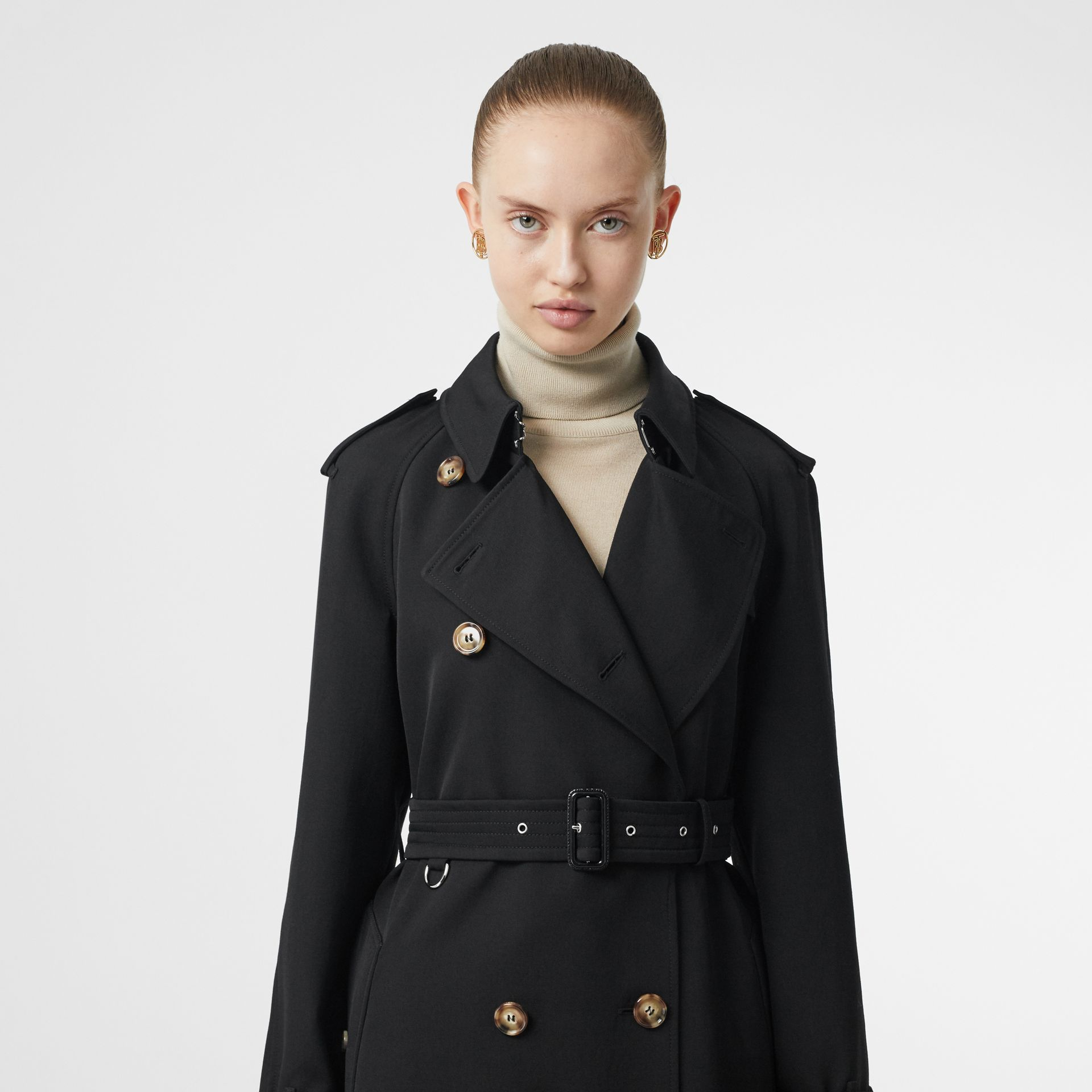 Wool Gabardine Trench Coat with Detachable Warmer in Black - Women | Burberry - gallery image 4