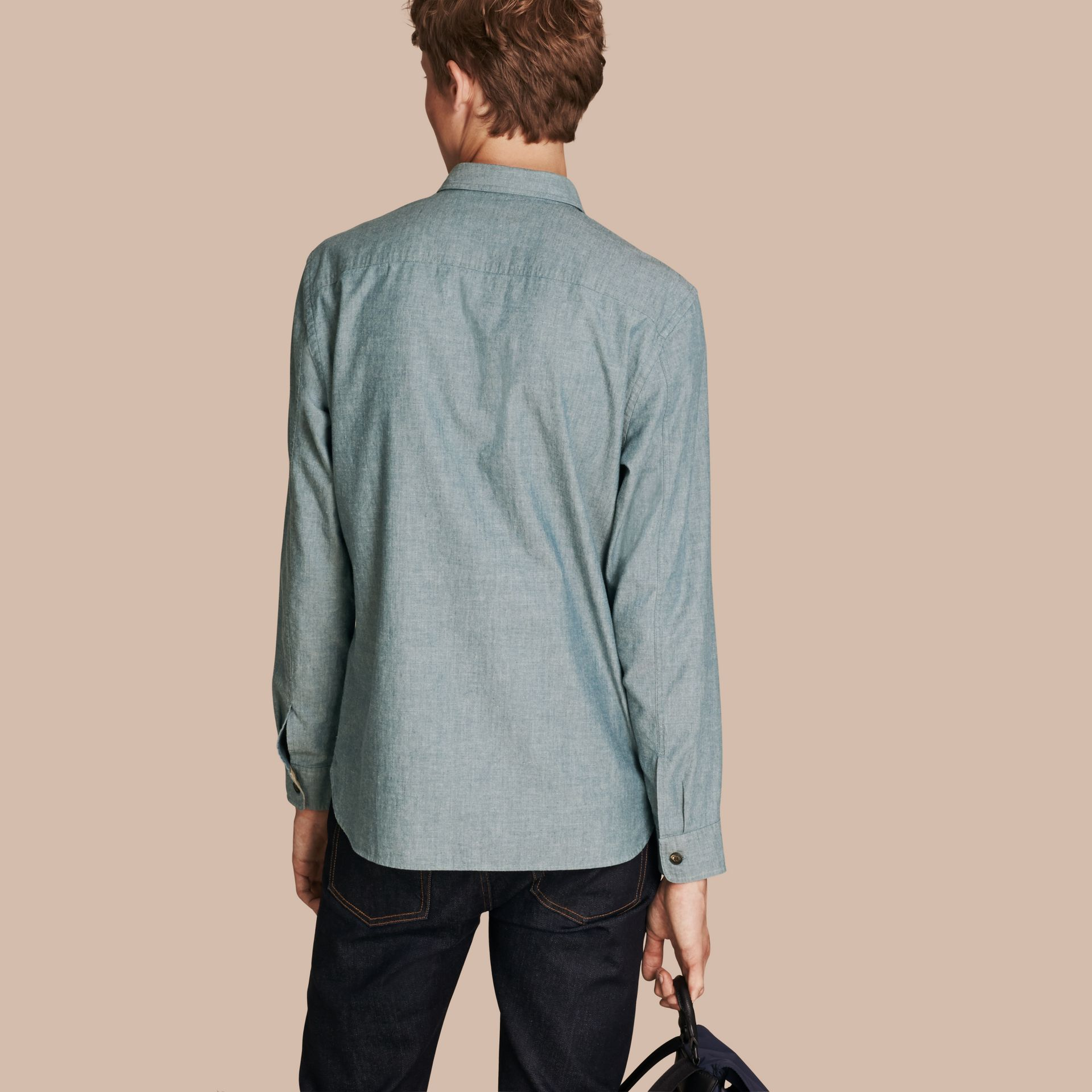 Mineral blue Chambray Cotton Shirt - gallery image 3