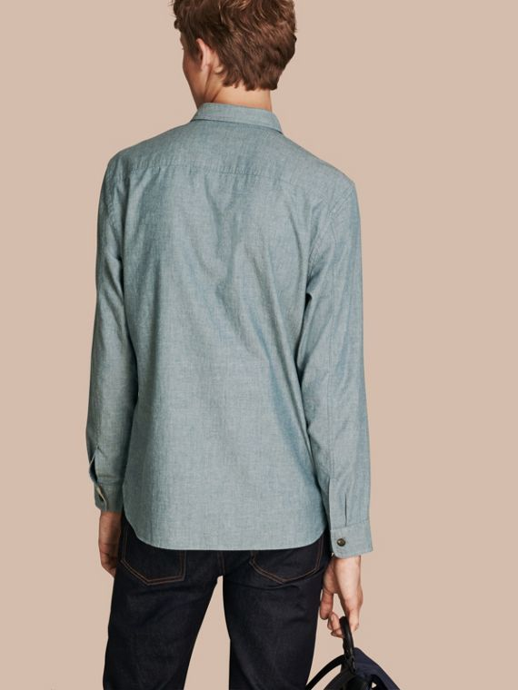 Mineral blue Chambray Cotton Shirt - cell image 2