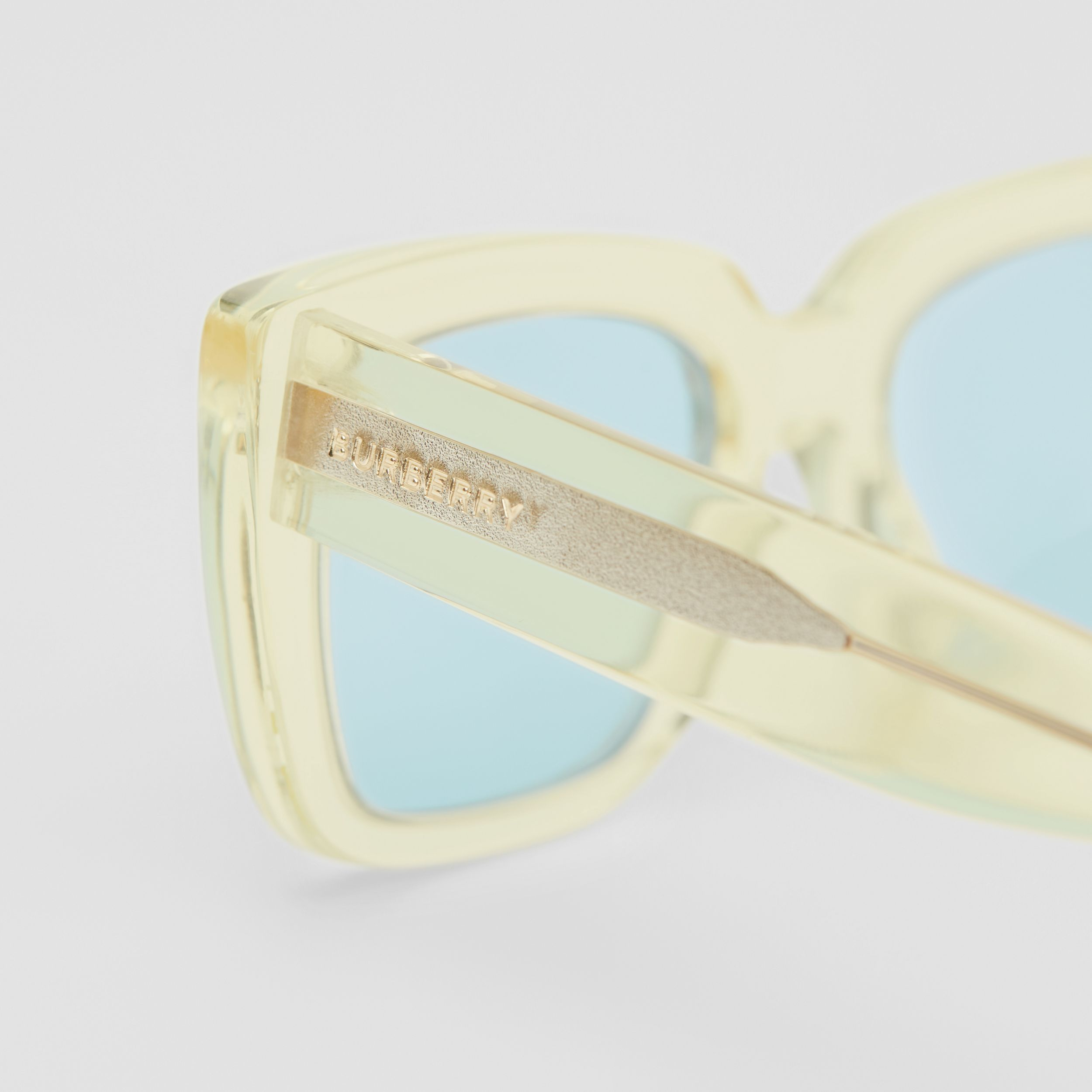 Bio-acetate Rectangular Frame Sunglasses in Pale Yellow - Women | Burberry - 2