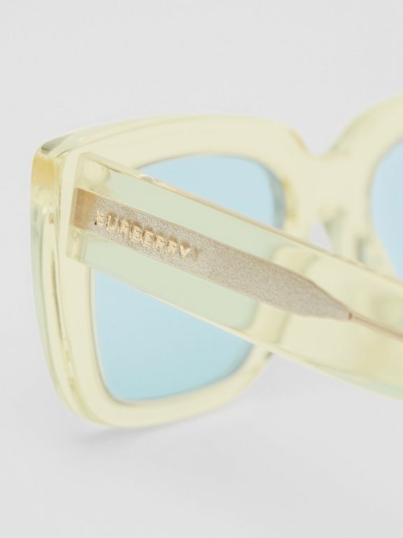 Bio-acetate Rectangular Frame Sunglasses in Pale Yellow | Burberry Australia - cell image 1