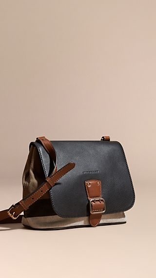 Canvas Check and Leather Crossbody Bag
