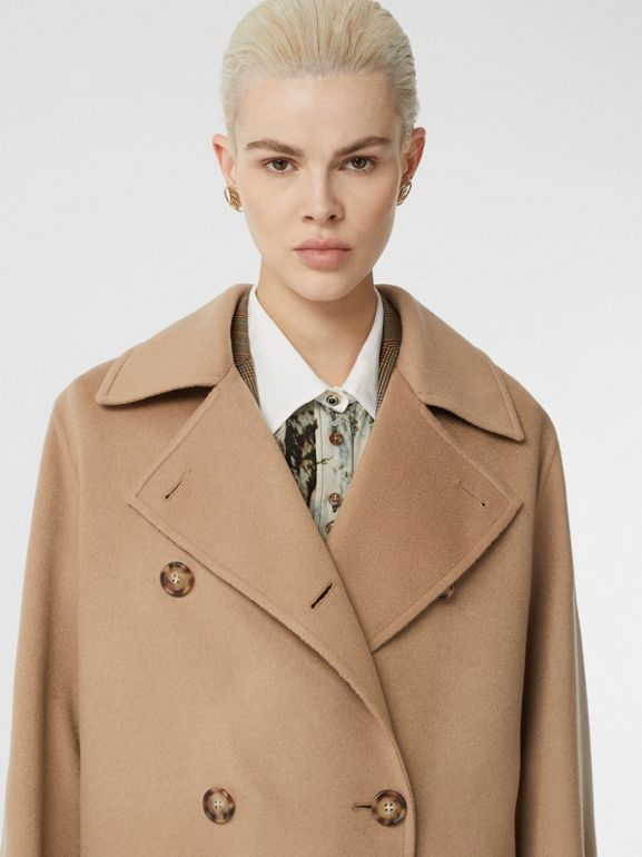 Double-faced Cashmere Oversized Coat in Light Camel - Women | Burberry - cell image 1