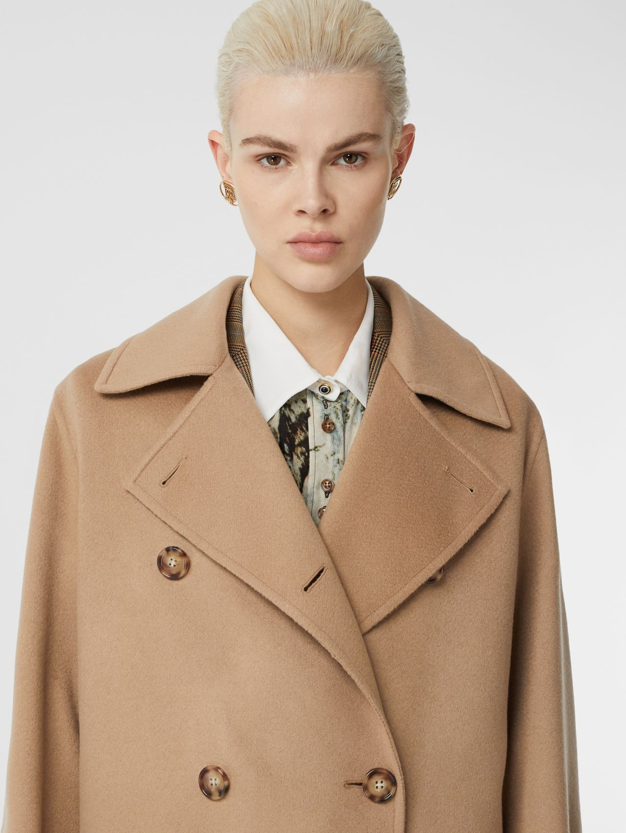 Double-faced Cashmere Oversized Coat (Light Camel)