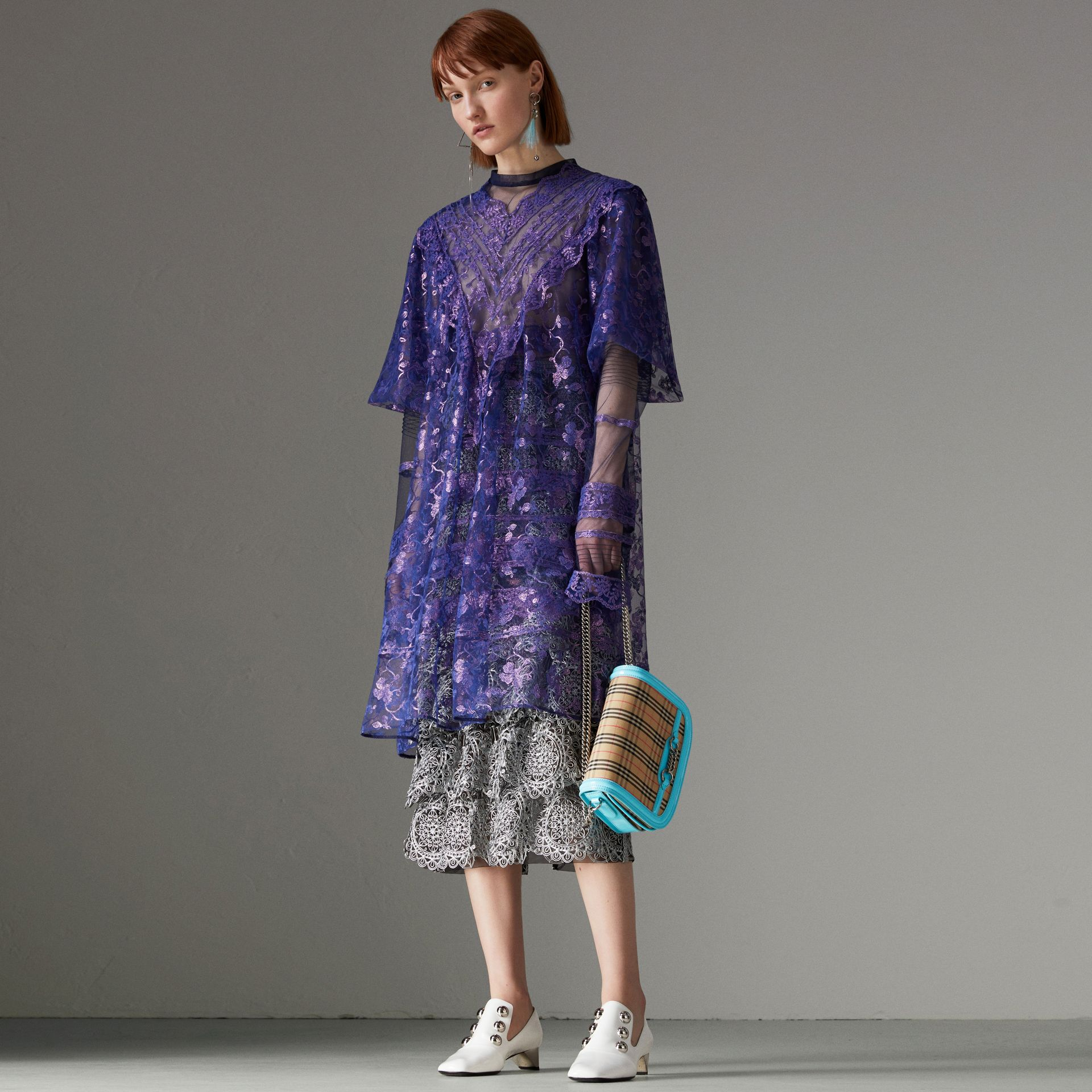 Laminated Lace Cape Sleeve Dress in Bright Purple - Women | Burberry Canada - gallery image 2