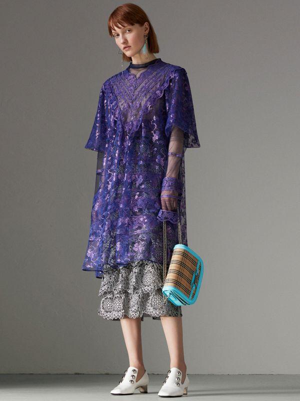 Laminated Lace Cape Sleeve Dress in Bright Purple - Women | Burberry - cell image 2