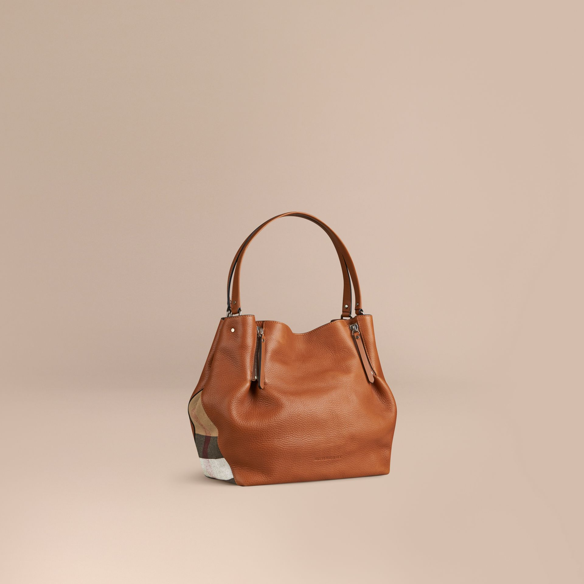 Saddle brown Medium Check Detail Leather Tote Bag Saddle Brown - gallery image 1