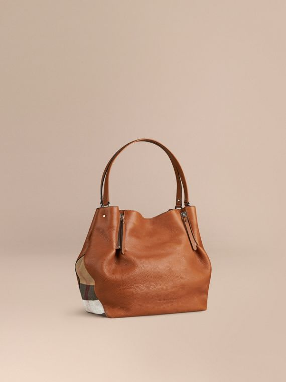 Medium Check Detail Leather Tote Bag Saddle Brown