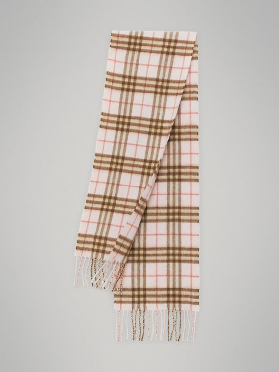 The Mini Classic Vintage Check Cashmere Scarf in Ice Pink