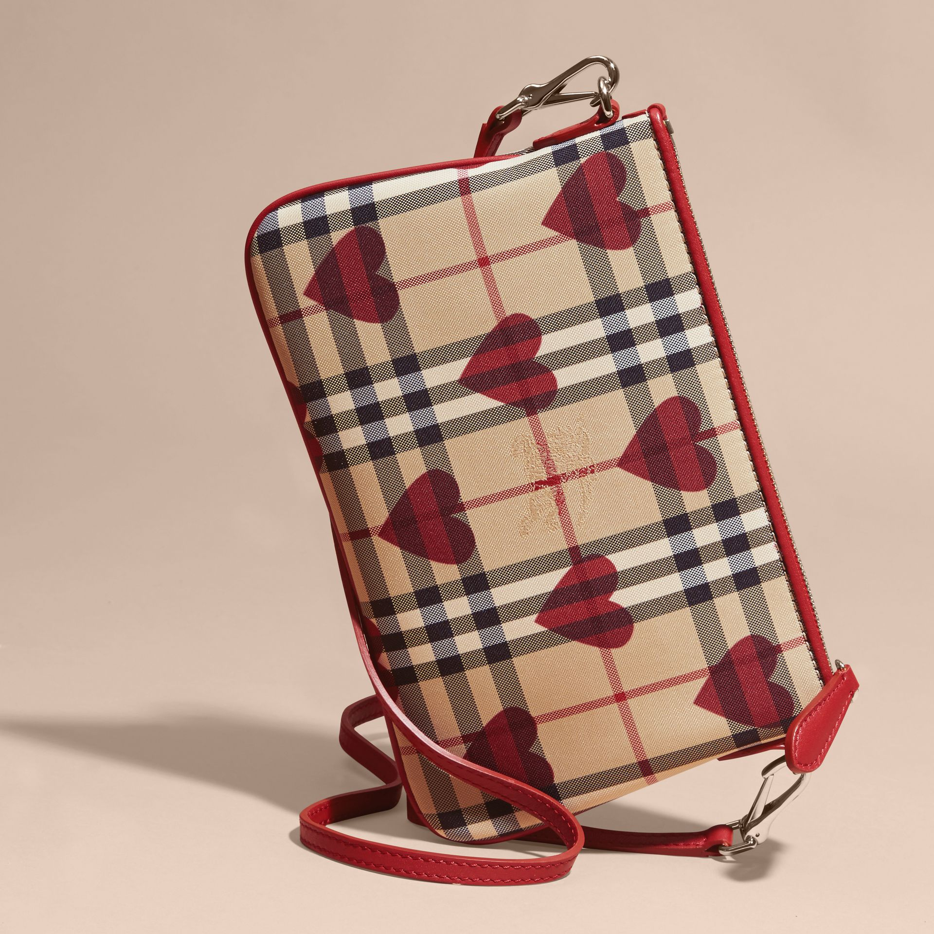 Parade red Heart Print Check and Leather Clutch Bag Parade Red - gallery image 5