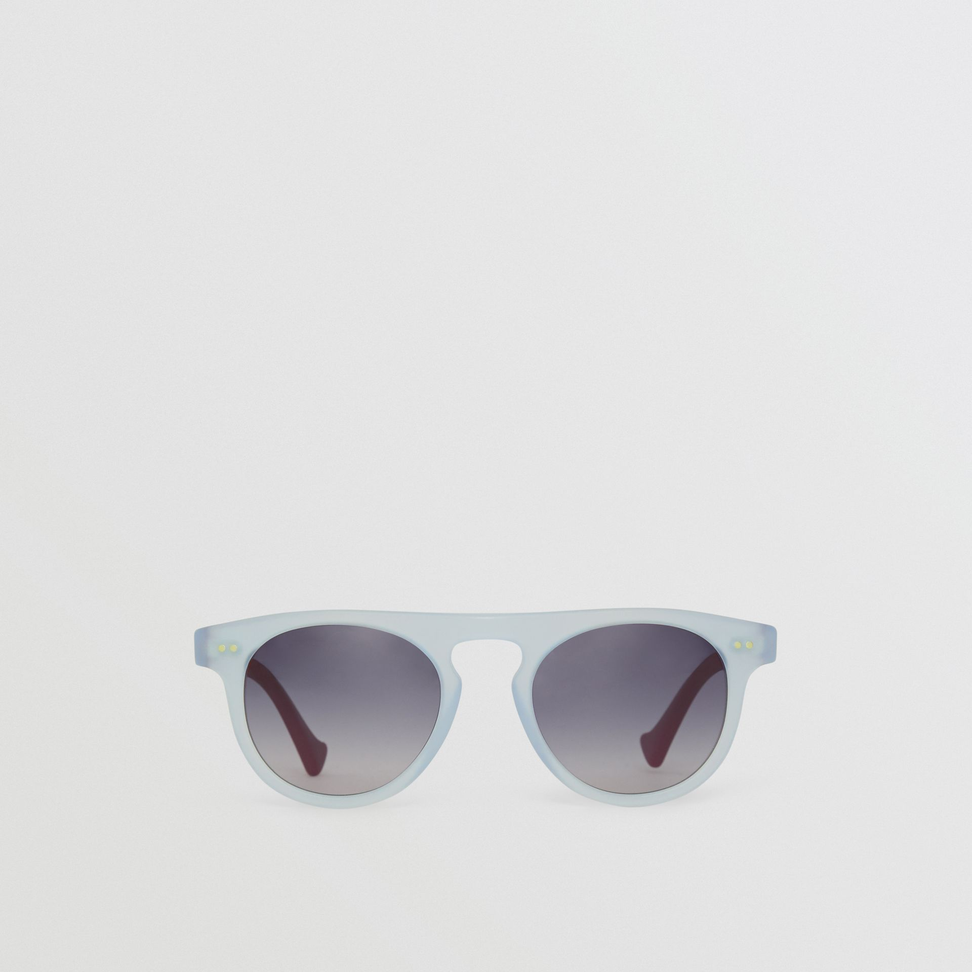 The Keyhole Round Frame Sunglasses in Light Blue | Burberry United States - gallery image 0