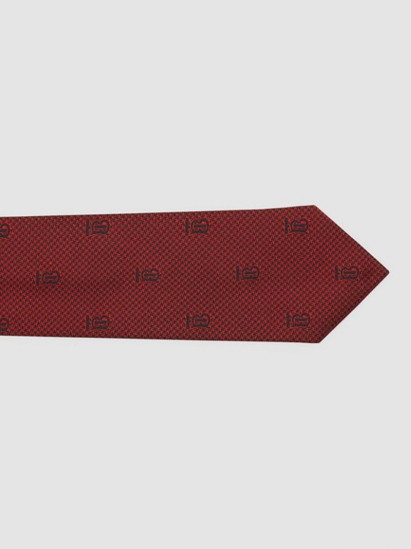 Classic Cut Puppytooth Check Silk Tie in Parade Red - Men | Burberry United States - cell image 1