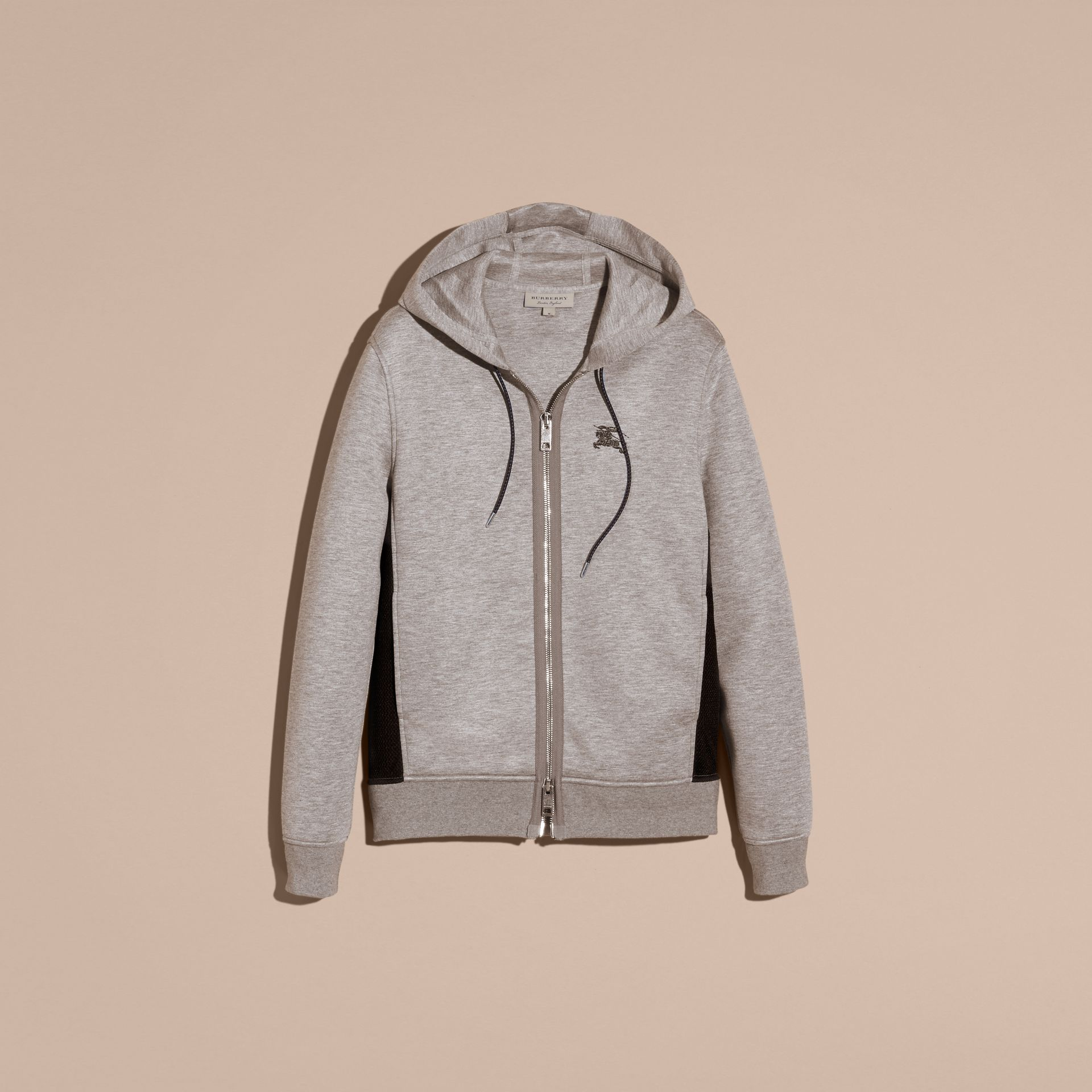 Two-tone Jersey Hooded Top Light Grey Melange - gallery image 3