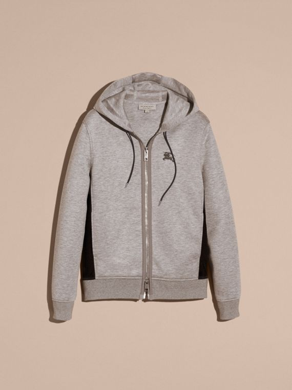 Two-tone Jersey Hooded Top Light Grey Melange - cell image 2