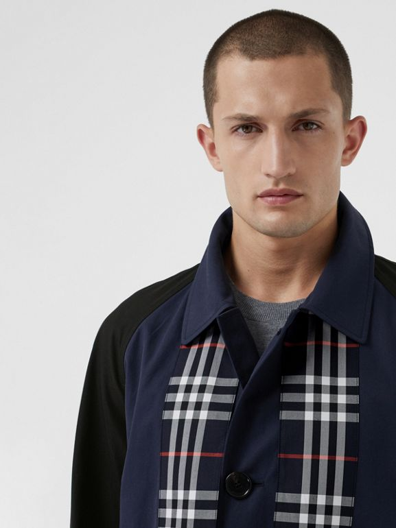 Check Detail Tropical Gabardine Car Coat in Midnight Blue - Men | Burberry United States - cell image 1