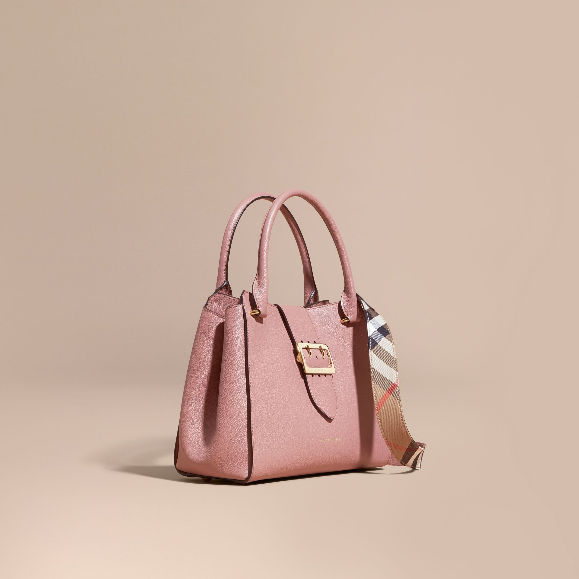 The Medium Buckle Tote in Grainy Leather in Dusty Pink - gallery image 1