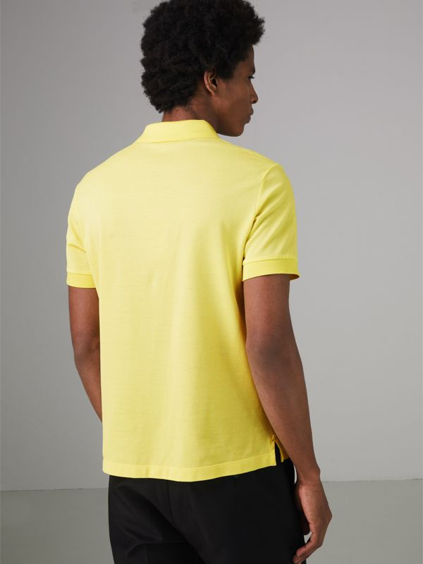 Painted Button Cotton Piqué Polo Shirt in Vibrant Lemon - Men | Burberry - cell image 2