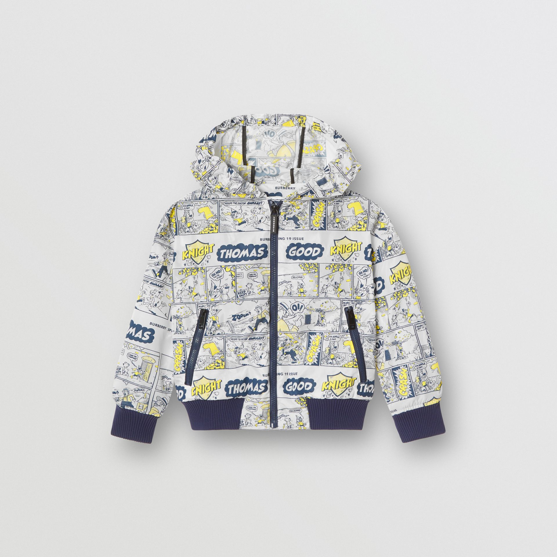 Comic Strip Print Lightweight Hooded Jacket in Citron | Burberry Canada - gallery image 0