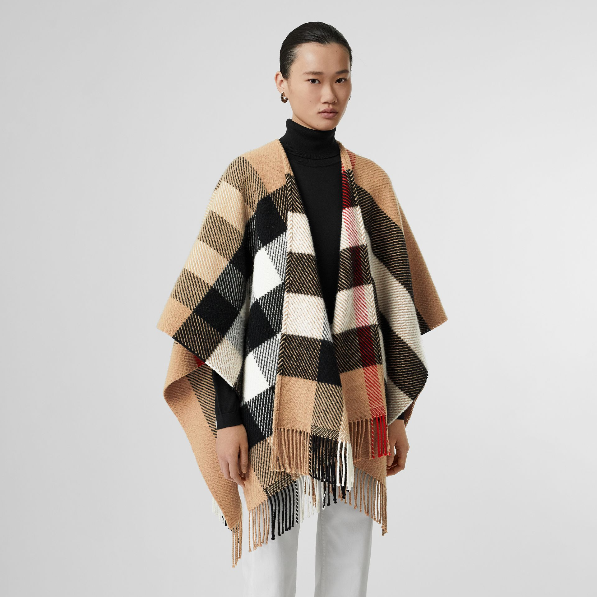 Check Wool Cashmere Cape in Camel - Women | Burberry - gallery image 4