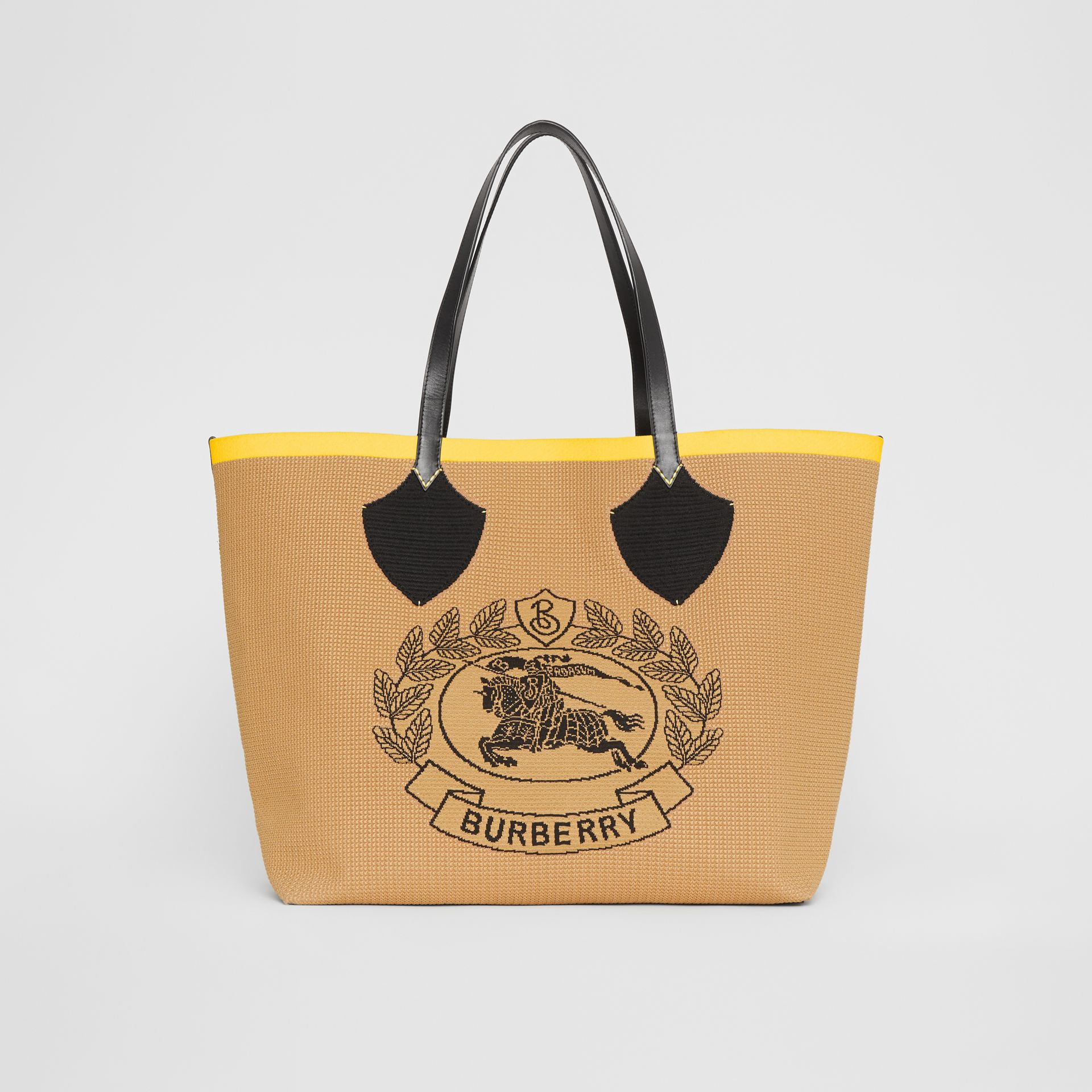 The Giant Tote in Knitted Archive Crest in Black/iris Yellow | Burberry Australia - gallery image 0