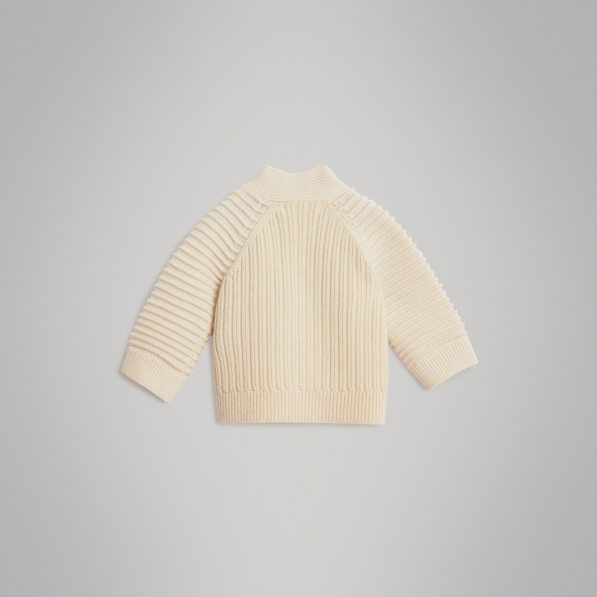 Rib Knit Wool Cashmere Cardigan in Ivory - Children | Burberry Australia - gallery image 3
