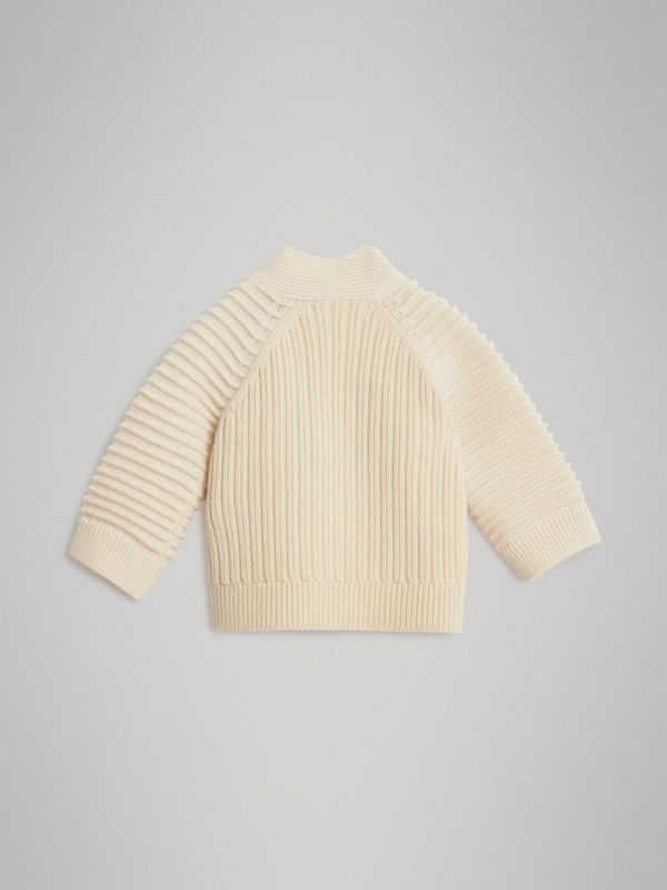 Rib Knit Wool Cashmere Cardigan in Ivory - Children | Burberry Australia - cell image 3