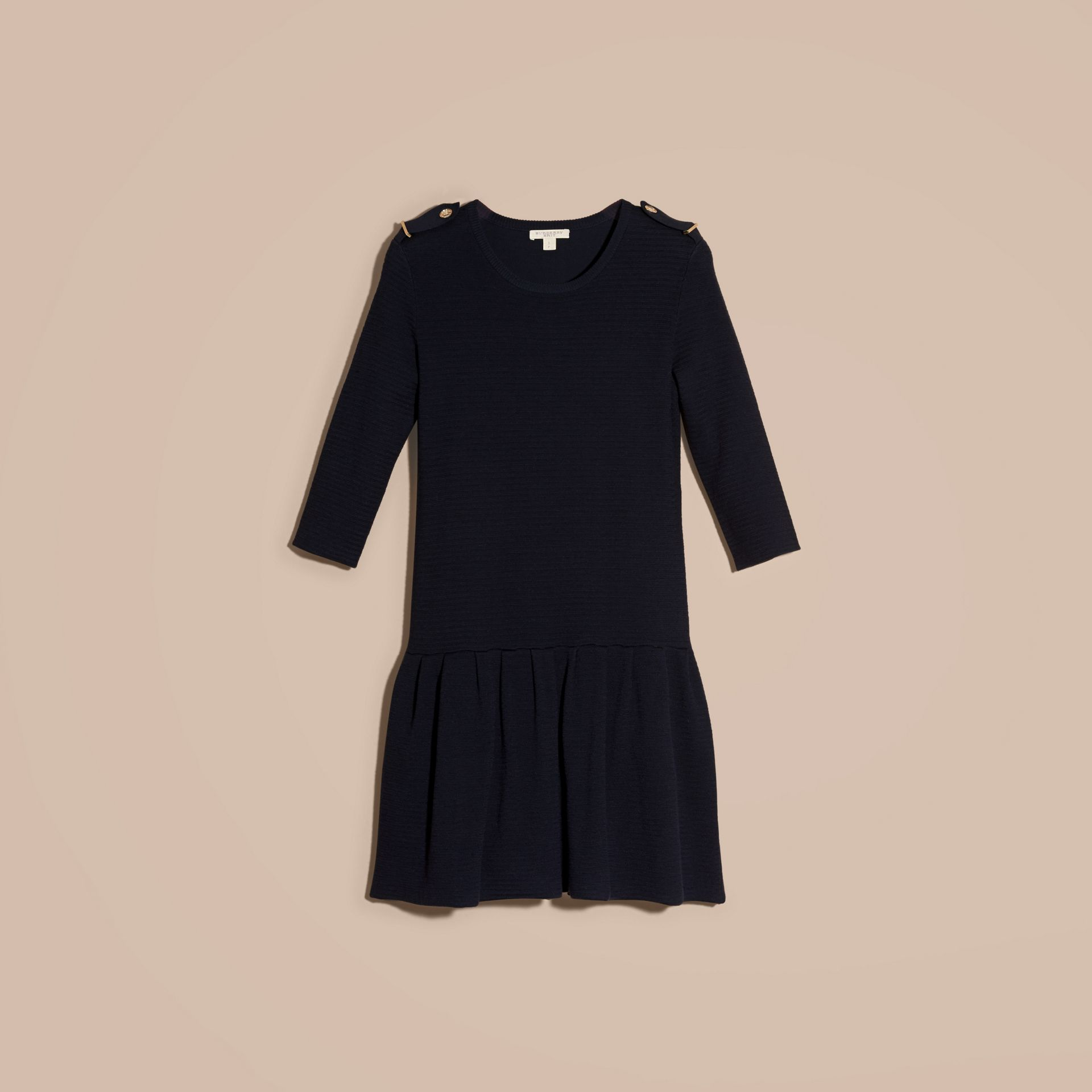 Navy Striped Silk Cotton Dress with Epaulettes - gallery image 4