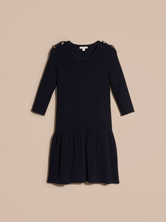 Navy Striped Silk Cotton Dress with Epaulettes - cell image 3