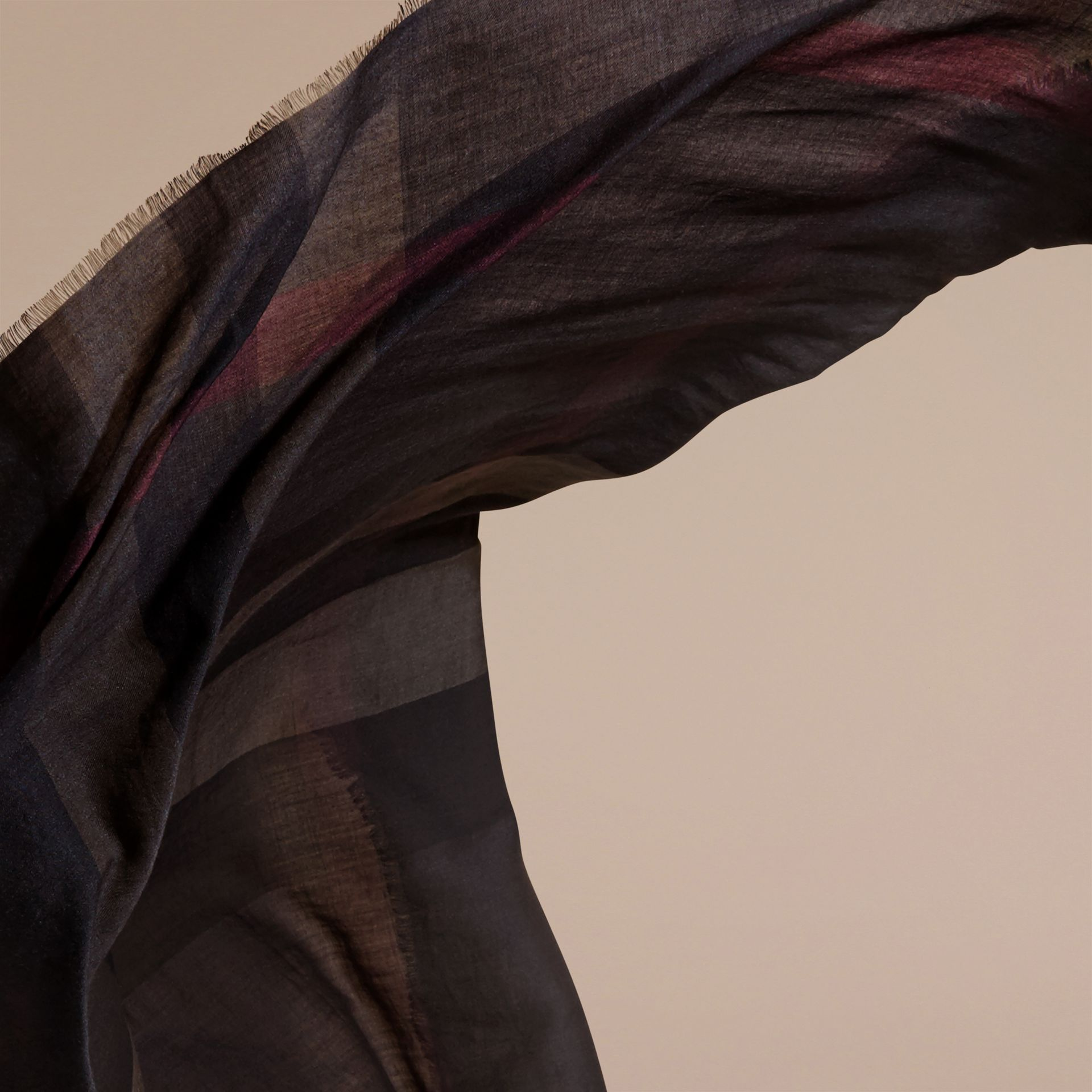Large Lightweight Check Silk Modal Wool Square Scarf in Chocolate - gallery image 5