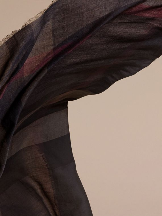 Chocolate check Lightweight Check Silk Modal Wool Square - Large Chocolate - cell image 3