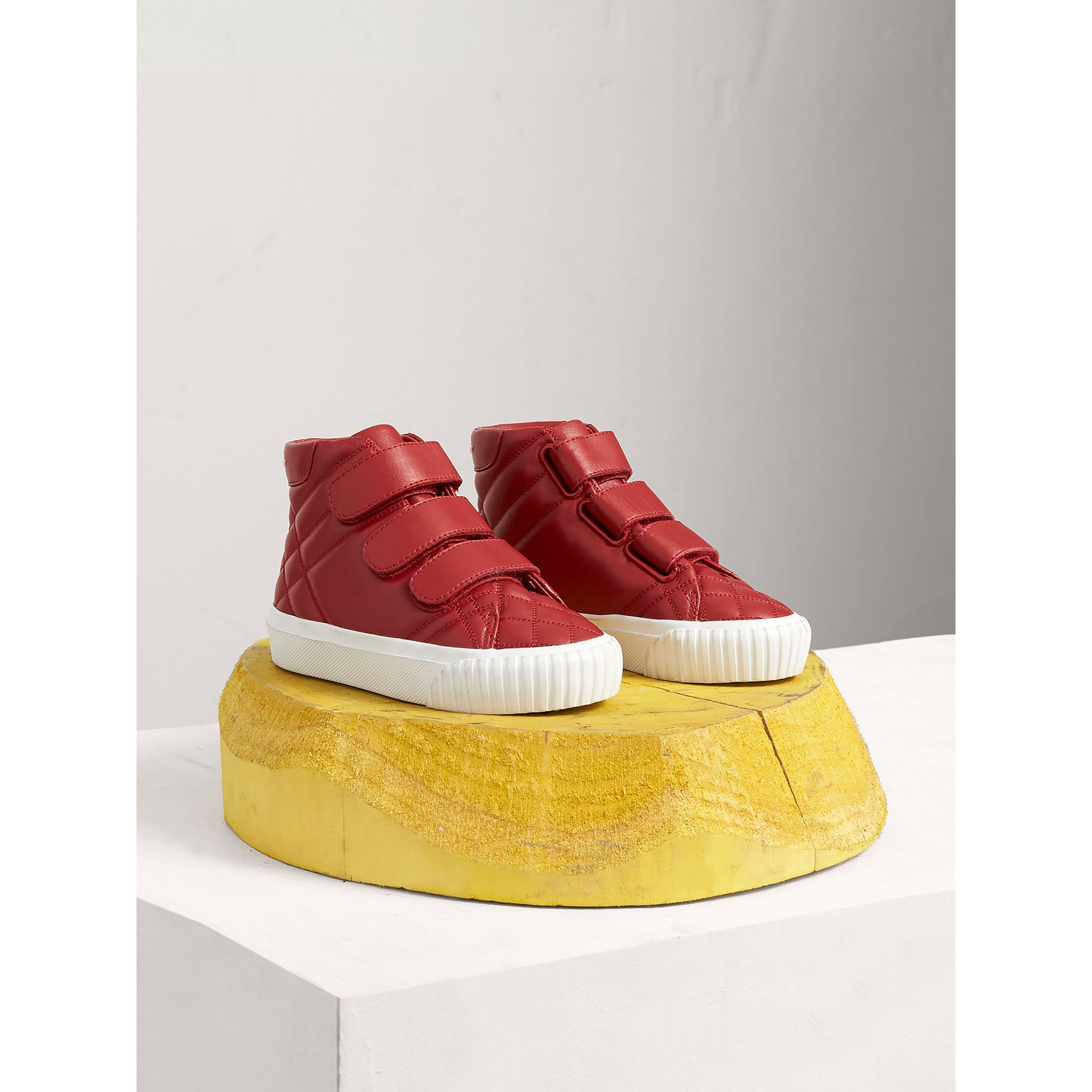 Check-quilted Leather High-top Sneakers in Parade Red | Burberry Canada - gallery image 0