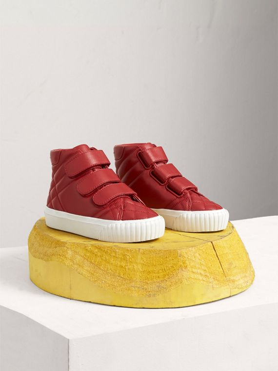 Check-quilted Leather High-top Sneakers in Parade Red