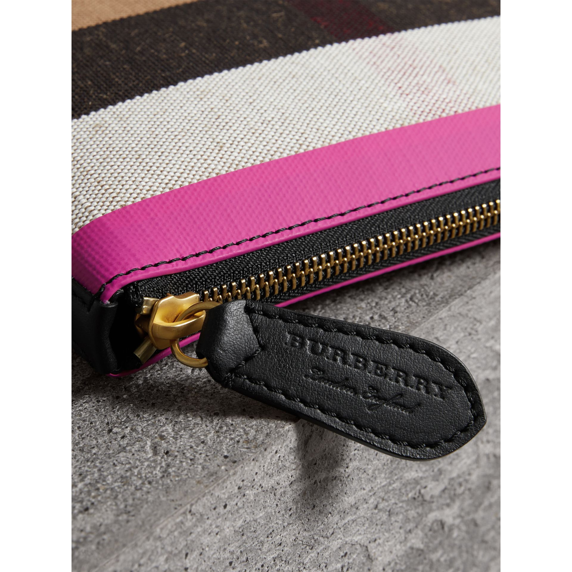 Medium Check Canvas and Leather Zip Pouch in Black/neon Pink - Women | Burberry Singapore - gallery image 1