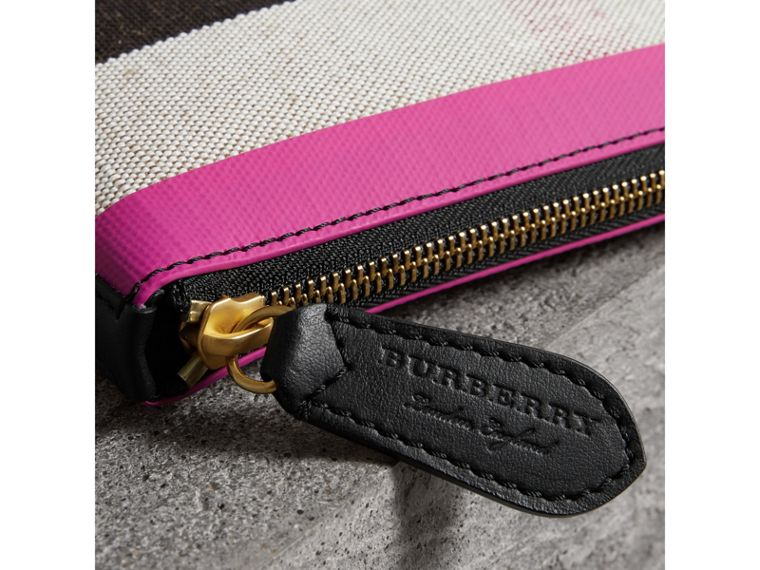 Medium Check Canvas and Leather Zip Pouch in Black/neon Pink - Women | Burberry United Kingdom - cell image 1