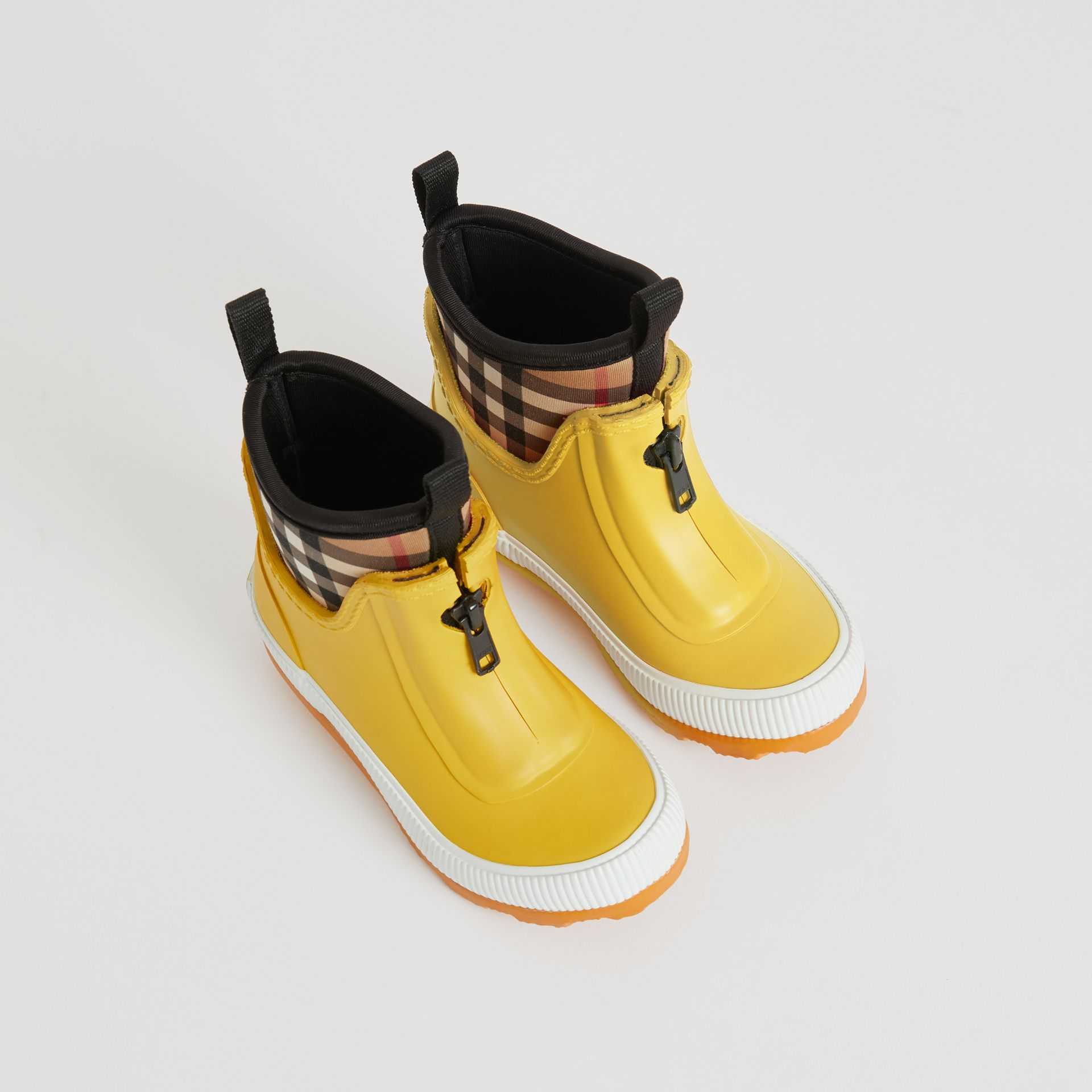 Vintage Check Neoprene and Rubber Rain Boots in Vibrant Lemon | Burberry Australia - gallery image 0