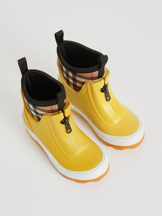 Vintage Check Neoprene and Rubber Rain Boots in Vibrant Lemon
