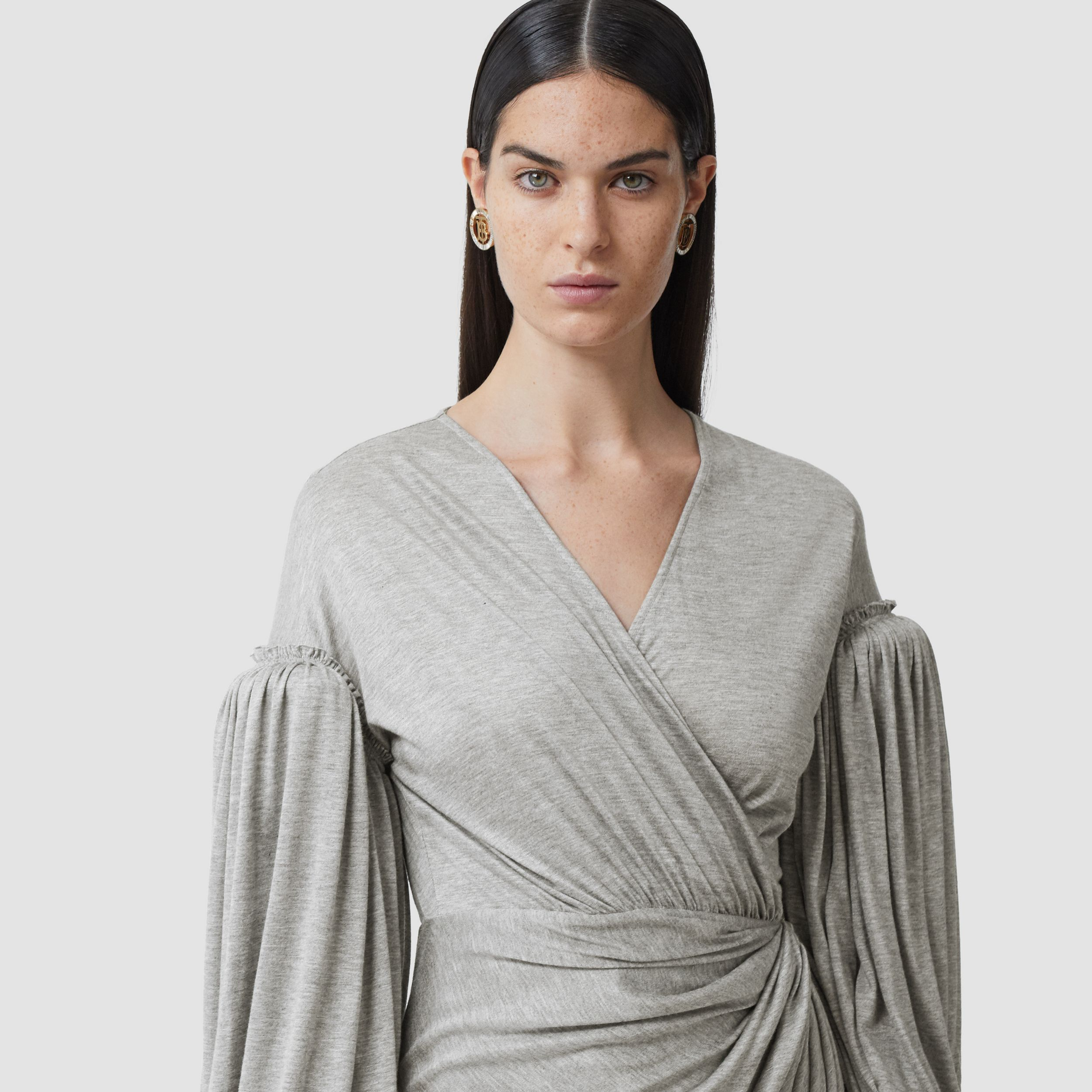 Puff-sleeve Jersey Wrap Dress in Pewter Melange - Women | Burberry - 2