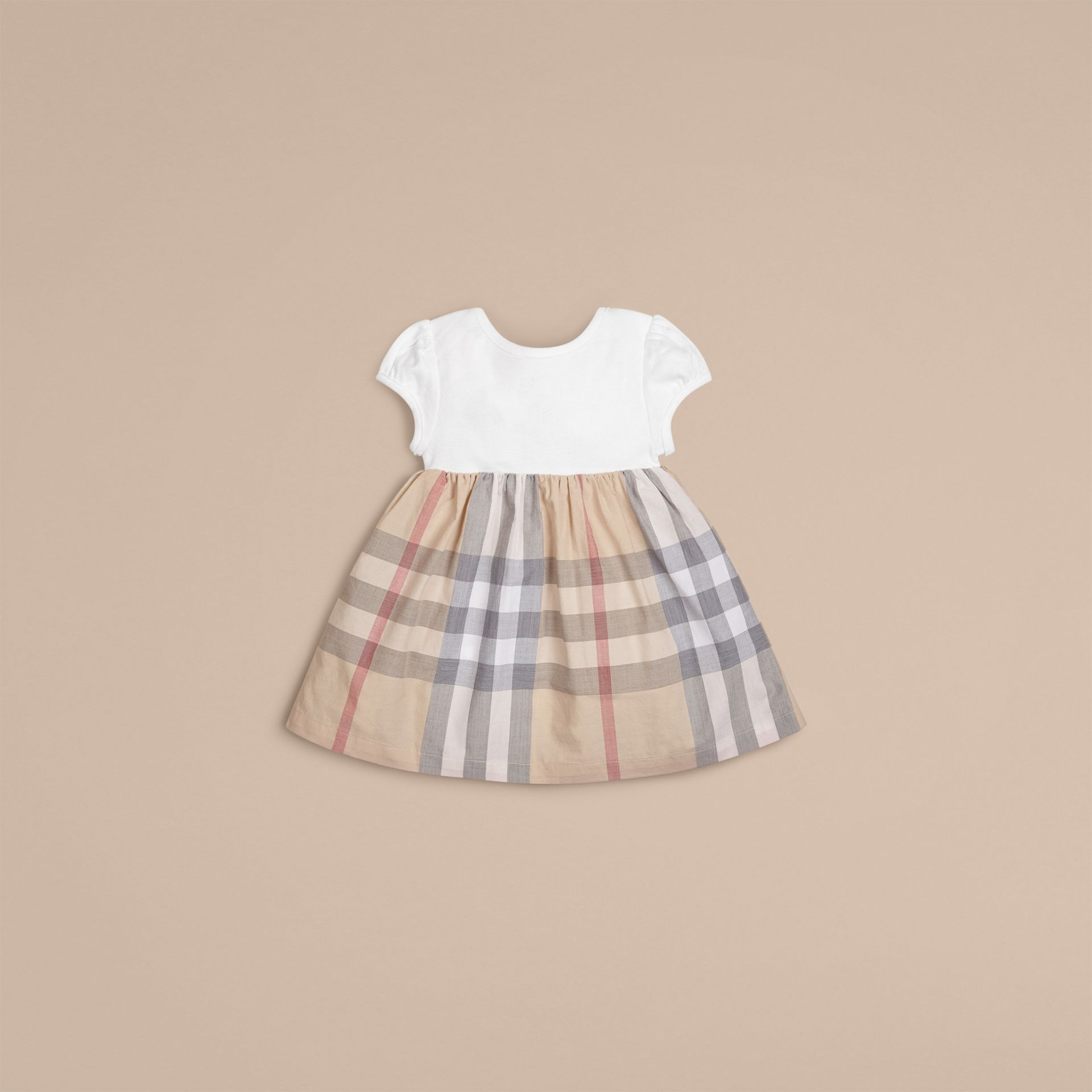 Check Detail Cotton Dress in Pale Classic - Girl | Burberry - gallery image 3