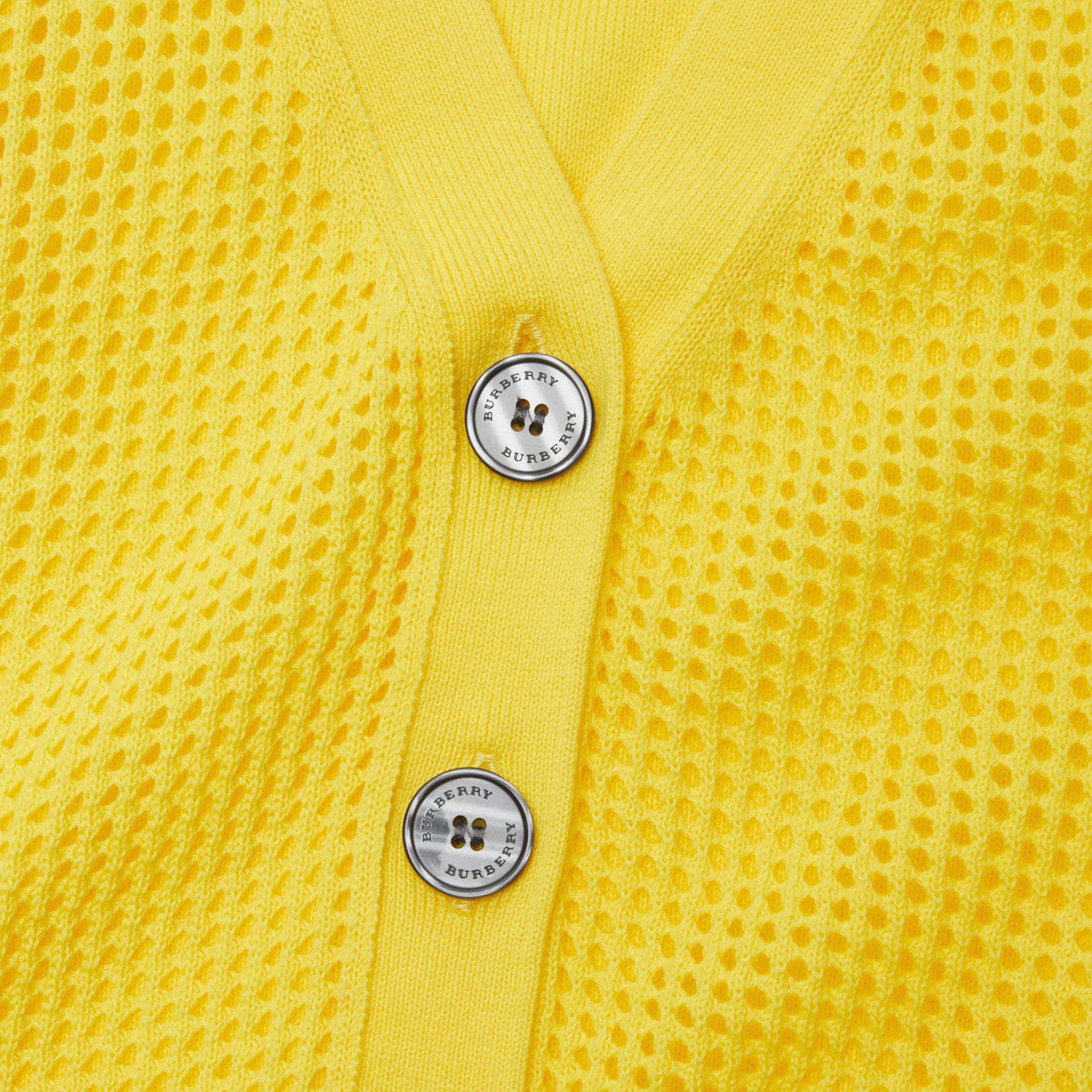 Open Knit Cotton V-neck Cardigan in Citrus Yellow | Burberry - gallery image 1