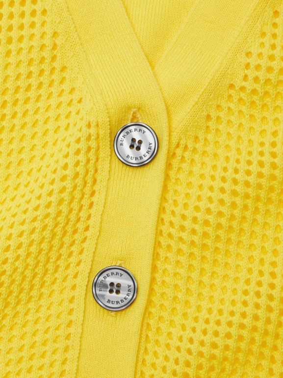 Open Knit Cotton V-neck Cardigan in Citrus Yellow | Burberry Hong Kong - cell image 1