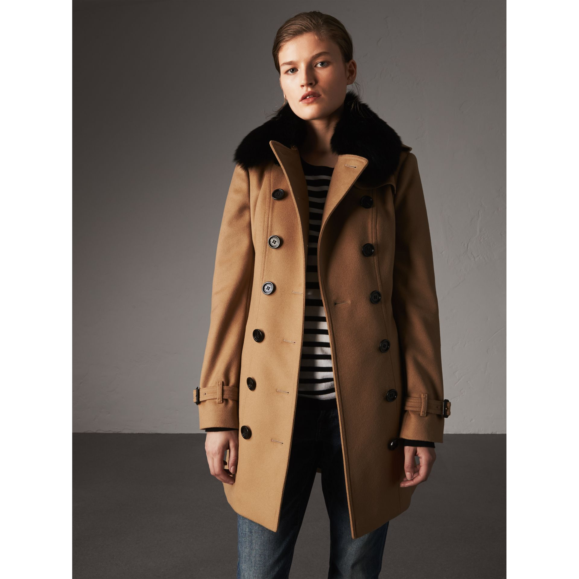 Wool Cashmere Trench Coat with Fur Collar in Camel - Women | Burberry United Kingdom - gallery image 0